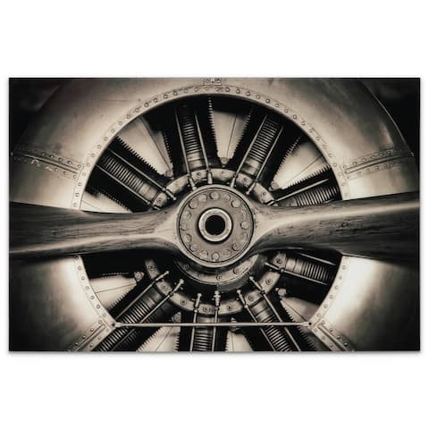 Plane Propeller Graphic Wall Art on Free Floating Tempered Glass Panel