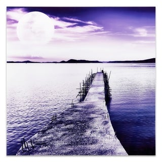 Empire Art 'Moonlit Dock' Tempered Glass Frameless Free Floating Art