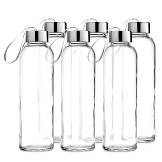 Clear Glass 18-ounce Water Bottle with Stainless Steel Caps and Carrying Loops (6 Pack)