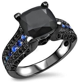 Noori 14k Black Rhodium White Gold 4ct TGW Black Cushion Cut Diamond Blue Sapphire Engagement Ring|https://ak1.ostkcdn.com/images/products/12225278/P19069825.jpg?impolicy=medium
