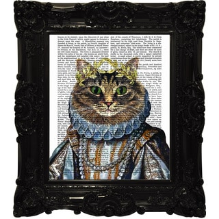 Empire Art 'Pampered Cat' Canvas Giclee Under Glass With High-gloss Baroque Frame