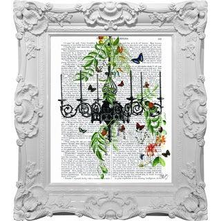 Empire Art 'Butterfly Chandelier' High-gloss Baroque Framed Canvas Giclee Under Glass