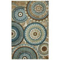 The Curated Nomad Francisco Geometric Area Rug - Blue/Light Brown - 5' x 7'