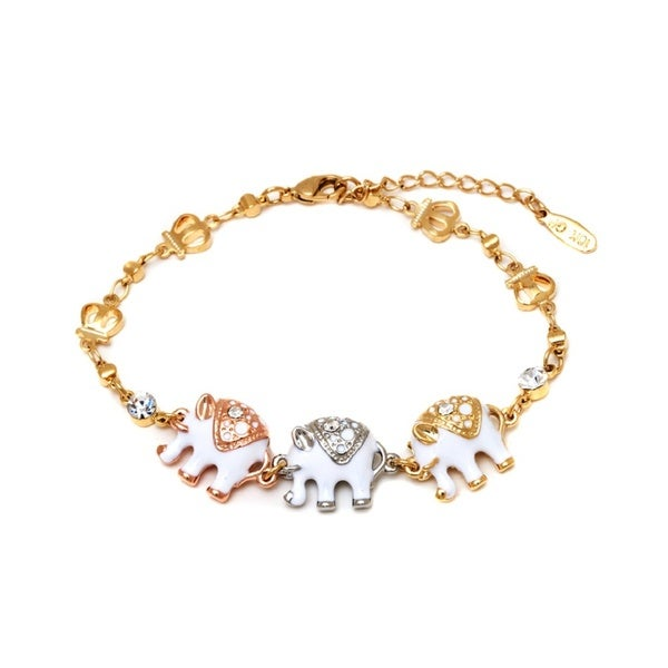 Goldplated Triple Tone White Enamel Animal Design Bracelet - Gold
