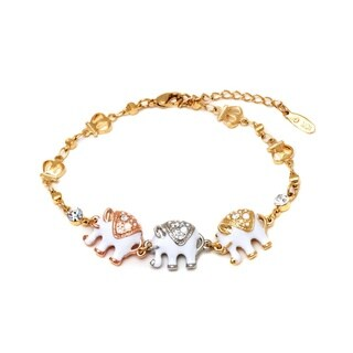Goldplated Triple Tone White Enamel Animal Design Bracelet - Gold