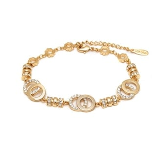 Goldplated Austrian Crystal Double Open Disc Bracelet
