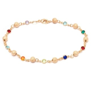 Goldplated Multicolor Crystal Ball Link Ankle Bracelet