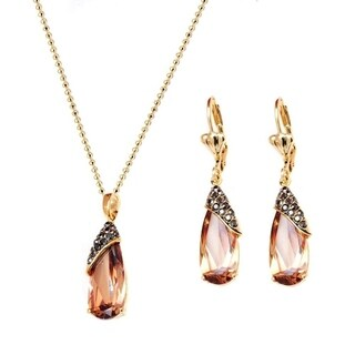 Goldplated Austrian Wrapped Teardrop Earrings and Pendant Necklace Set - Gold