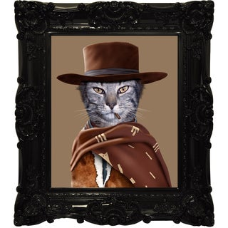 Empire Art Pets Rock 'Western' Canvas Giclee Under Glass in a High Gloss Baroque Frame