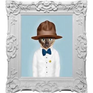 Empire Art Pets Rock 'Purrell' High Gloss Baroque Framed Canvas Giclee Under Glass