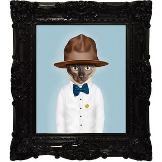 Empire Art Pets Rock 'Purrell' Canvas Giclee Under Glass with High-gloss Baroque Frame