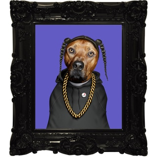 Empire Art Pets Rock 'Rap' Canvas Giclee Under Glass With High-gloss Baroque Frame