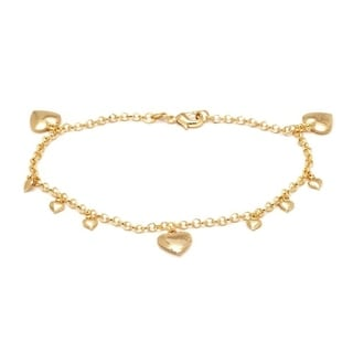 Goldplated Heart Charm Anklet Bracelet