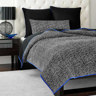 Vince Camuto Milan Printed Lace Black and White Coverlet
