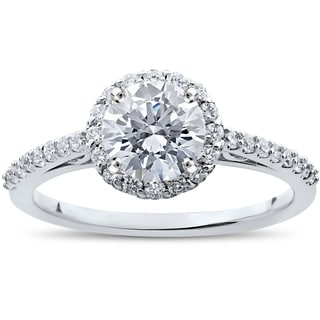 14k White Gold 1 1/16 ct TDW Halo Eco-Friendly Lab Grown Diamond Engagement Ring
