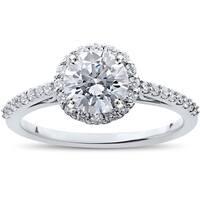 14k White Gold 1 1/16 ct TDW Halo Eco-Friendly Lab Grown Diamond Engagement Ring