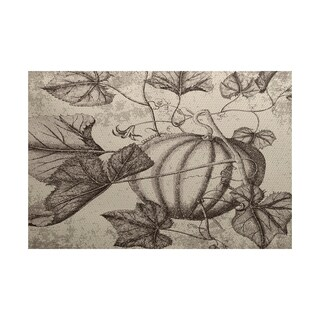 Antique Pumpkin Floral Print Indoor/ Outdoor Rug (3' x 5')