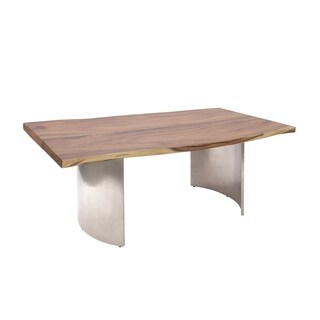 Traditional Stainless Steel and Wood Dining Table by Studio 350 - Brown - N/A