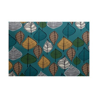 Autumn Leaves Floral Print Indoor/ Outdoor Rug (3' x 5')