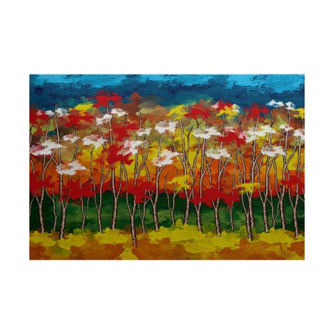 Autumn Floral Print Indoor/ Outdoor Rug