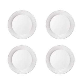 American Atelier Hamilton Beaded Off-white 10.625-inch Diameter Salad Plates (Pack of 4)