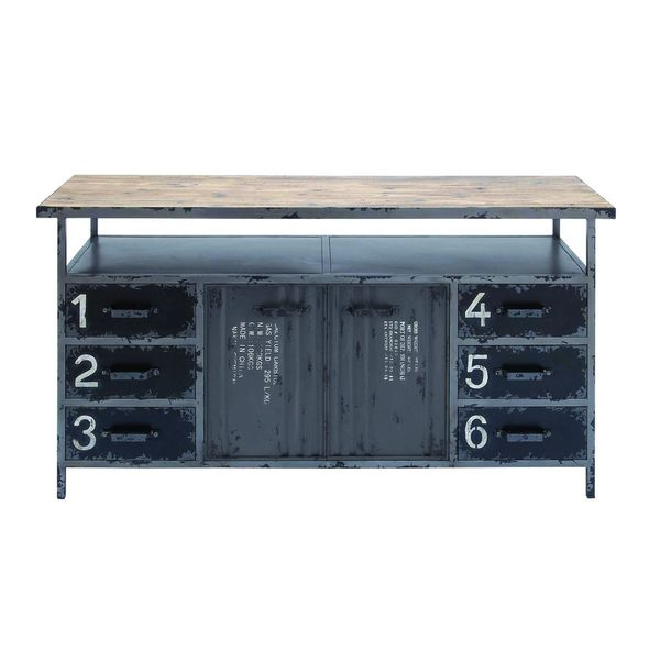 Industrial metal wood buffet free shipping today for Buffet industriel metal
