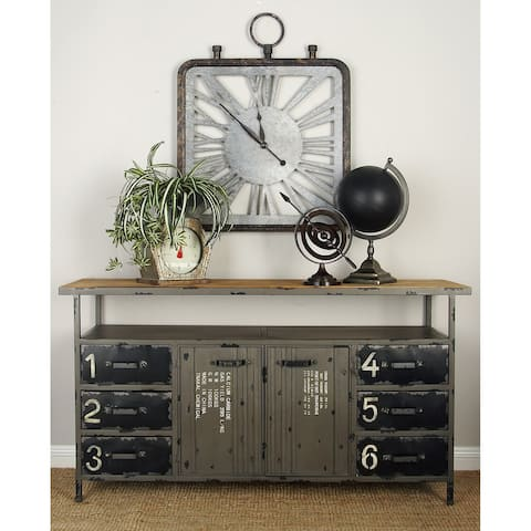 Industrial 30 x 56 Inch Six-Drawer Buffet with Shelf Top by Studio 350
