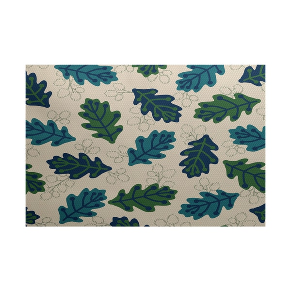 Shop Retro Leaves Floral Print Indoor Outdoor Rug 3 X 5 Free