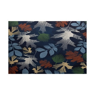Watercolor Leaves Floral Print Indoor/ Outdoor Rug (3' x 5')