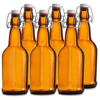 Easy Cap Amber 16-ounce Beer Bottles (Pack of 6)