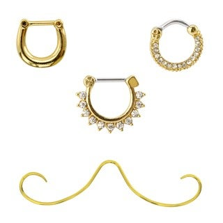 Supreme Jewelry Goldtone Surgical Steel Septum Ring Variety 4-Pack