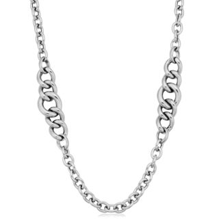 Argento Italia Sterling Silver Graduated Curb Link Station Necklace (36 inch)