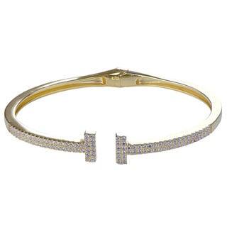 Gold Color Cubic Zirconia Bangle Bracelet