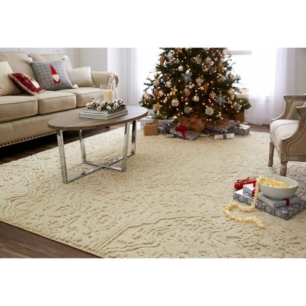 Christmas Area Rugs 8 X 10.Shop Mohawk Home Loft Francesca Cream Area Rug On Sale