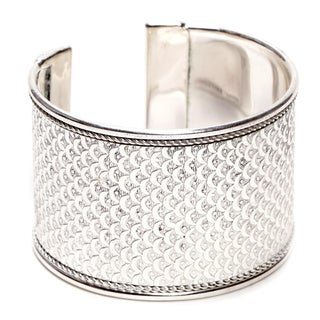 Bright Silver Art Deco Scallop Cuff (India)