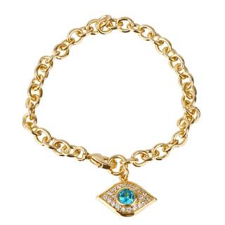 Gold Color Evil Eye Cubic Zirconia Charm Bracelet
