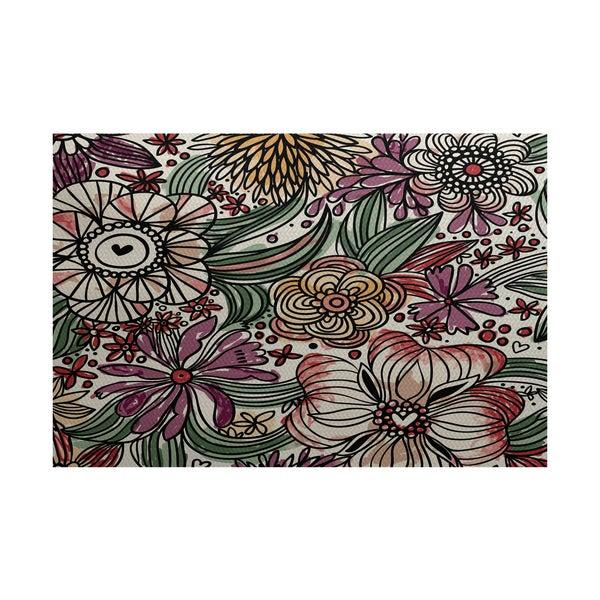 Shop Zentangle Floral Floral Print Indoor Outdoor Rug 3 X 5