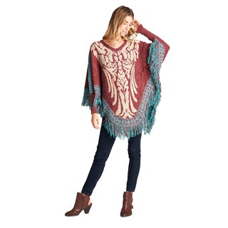 Orange Creek Wool Blend Fringed Poncho