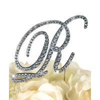 Victorian Silvertone Rhinestone Letter 'R' Wedding Cake Topper