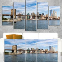 Summer Day Brooklyn Bridge  - Cityscape Canvas print - Blue