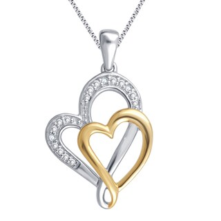 Divina Two-tone Diamond Accent Heart Pendant