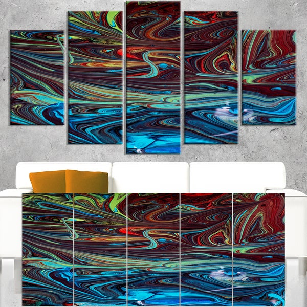 Red Blue Abstract Acrylic Paint Mix - Abstract Art on Canvas