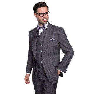 Sorento Men's Grey Wool Plaid Statement Suit