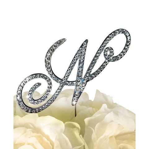 Unik Occasions Sparkling Collection Victorian Rhinestone 'Letter N' Wedding Cake Topper