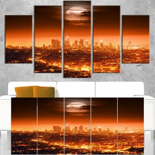 Dramatic Full Moon over Los Angeles  - Cityscape Canvas print