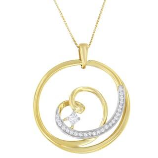 Espira 10k Yellow Gold 1/6ct TDW Round-cut Diamond Pendant (I-J, I1-I2)