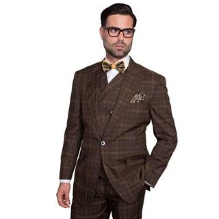 Sorento Men's Brown Wool Plaid Statement Suit