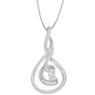 Espira 10k White Gold 1/8ct TDW Round-cut Diamond Pendant (H-I, I1-I2)
