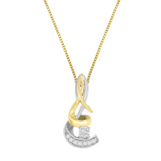 Espira 10k Two-tone Gold 1/10ct TDW Round-cut Diamond Pendant (I-J, I1-I2)