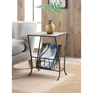Convenience Concepts Wyoming Antique Finish Wood and Metal Magazine End Table